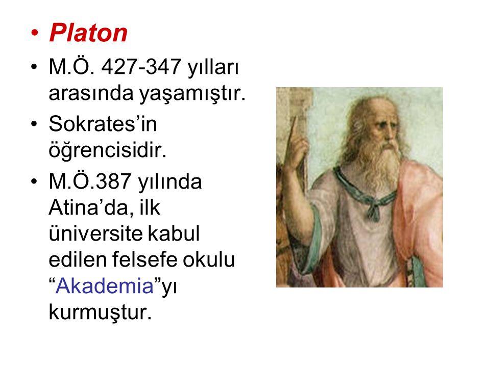 """Platon M.Ö. 427-347 yılları arasında yaşamıştır. Sokrates'in öğrencisidir. M.Ö.387 yılında Atina'da, ilk üniversite kabul edilen felsefe okulu """"Akadem"""