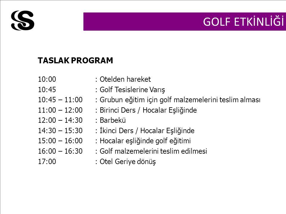 GOLF ETKİNLİĞİ 10:00: Otelden hareket 10:45: Golf Tesislerine Varış 10:45 – 11:00: Grubun eğitim için golf malzemelerini teslim alması 11:00 – 12:00: Birinci Ders / Hocalar Eşliğinde 12:00 – 14:30: Barbekü 14:30 – 15:30: İkinci Ders / Hocalar Eşliğinde 15:00 – 16:00: Hocalar eşliğinde golf eğitimi 16:00 – 16:30: Golf malzemelerini teslim edilmesi 17:00: Otel Geriye dönüş TASLAK PROGRAM