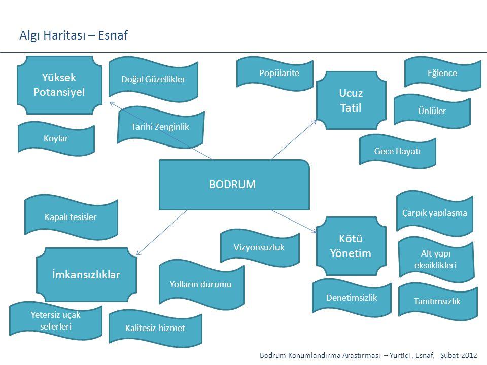Bodrum Konumlandırma Araştırması – Yurtiçi, Esnaf, Şubat 2012 Tanıtımsızlık BODRUM Çarpık yapılaşma Alt yapı eksıiklikleri Ucuz Tatil Gece Hayatı Eğle
