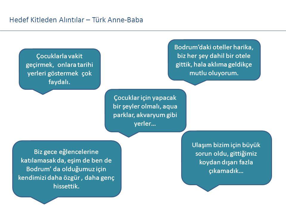 Hedef Kitleden Alıntılar – Türk Anne-Baba Çocuklarla vakit geçirmek, onlara tarihi yerleri göstermek çok faydalı. Biz gece eğlencelerine katılamasak d