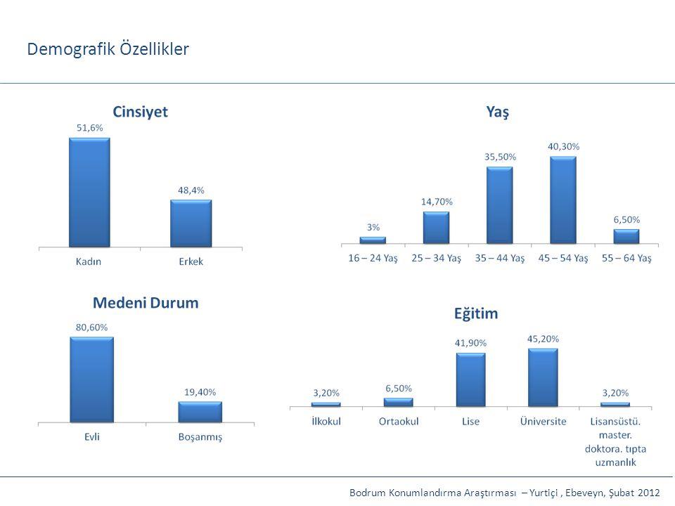 Demografik Özellikler Bodrum Konumlandırma Araştırması – Yurtiçi, Ebeveyn, Şubat 2012