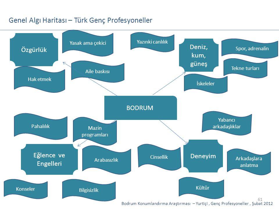 61 Genel Algı Haritası – Türk Genç Profesyoneller BODRUM Arkadaşlara anlatma Cinsellik Deniz, kum, güneş Tekne turları Mazin programları Yazınki canlı