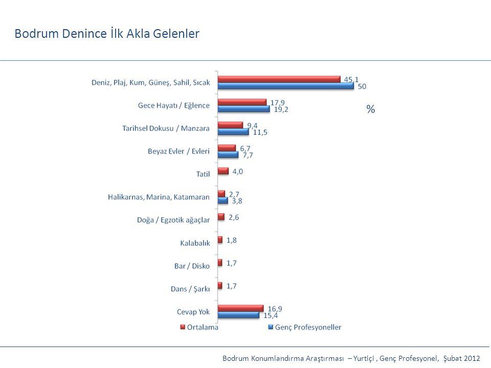 Bodrum Denince İlk Akla Gelenler Bodrum Konumlandırma Araştırması – Yurtiçi, Genç Profesyonel, Şubat 2012