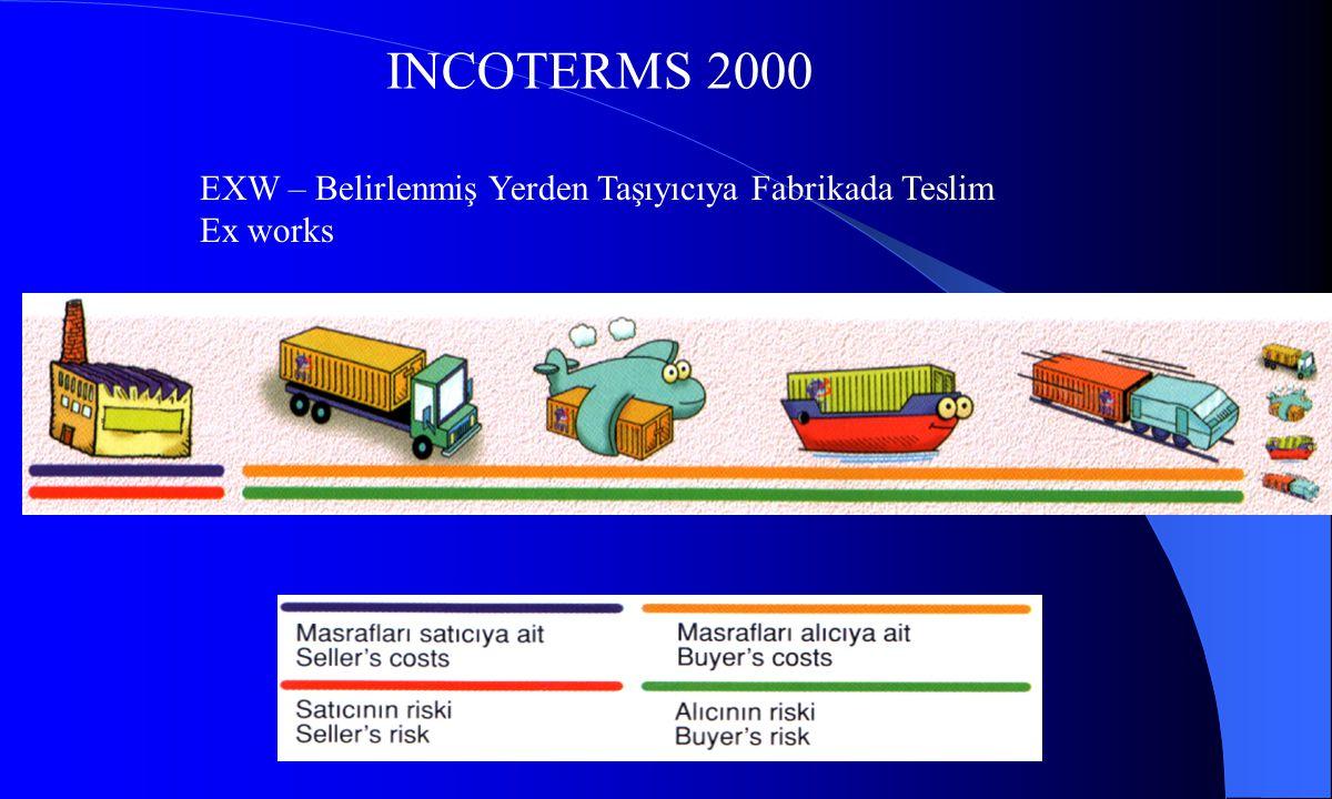 INCOTERMS 2000 EXW – Belirlenmiş Yerden Taşıyıcıya Fabrikada Teslim Ex works