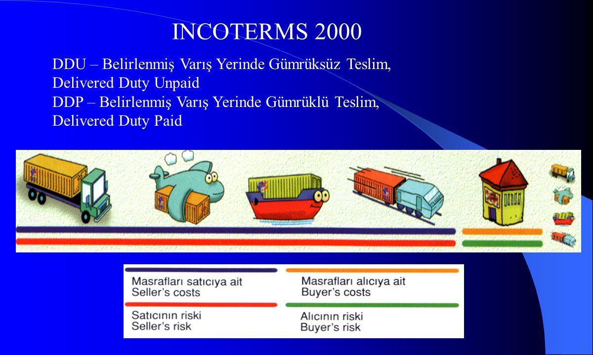 INCOTERMS 2000 DDU – Belirlenmiş Varış Yerinde Gümrüksüz Teslim, Delivered Duty Unpaid DDP – Belirlenmiş Varış Yerinde Gümrüklü Teslim, Delivered Duty