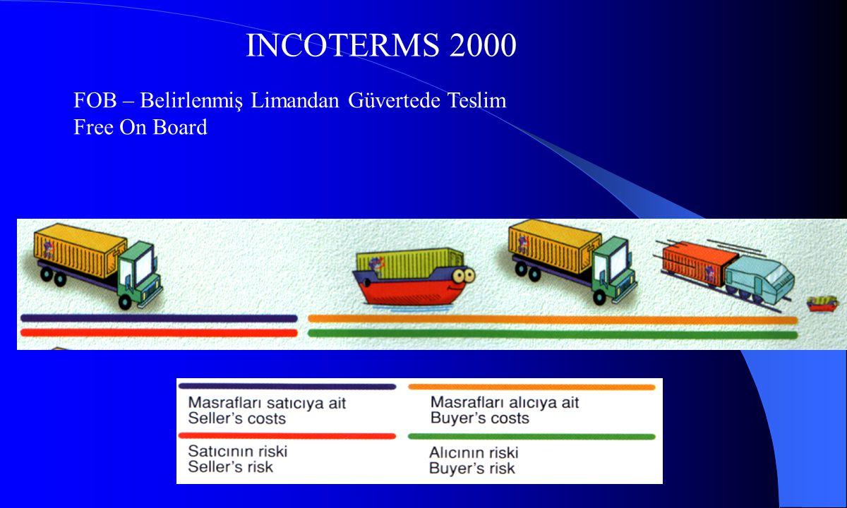 INCOTERMS 2000 CFR – Belirlenmiş Varış Limanından Mal Bedeli Ve Navlun, Cost and Freight CIF – Belirlenmiş Varış Limanından Navlun, Sigorta ve Mal Bedeli, Cost, Insurance and Freight Ödenmiş Olarak Teslim