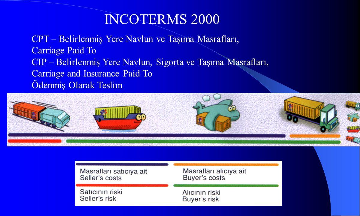 INCOTERMS 2000 CPT – Belirlenmiş Yere Navlun ve Taşıma Masrafları, Carriage Paid To CIP – Belirlenmiş Yere Navlun, Sigorta ve Taşıma Masrafları, Carri