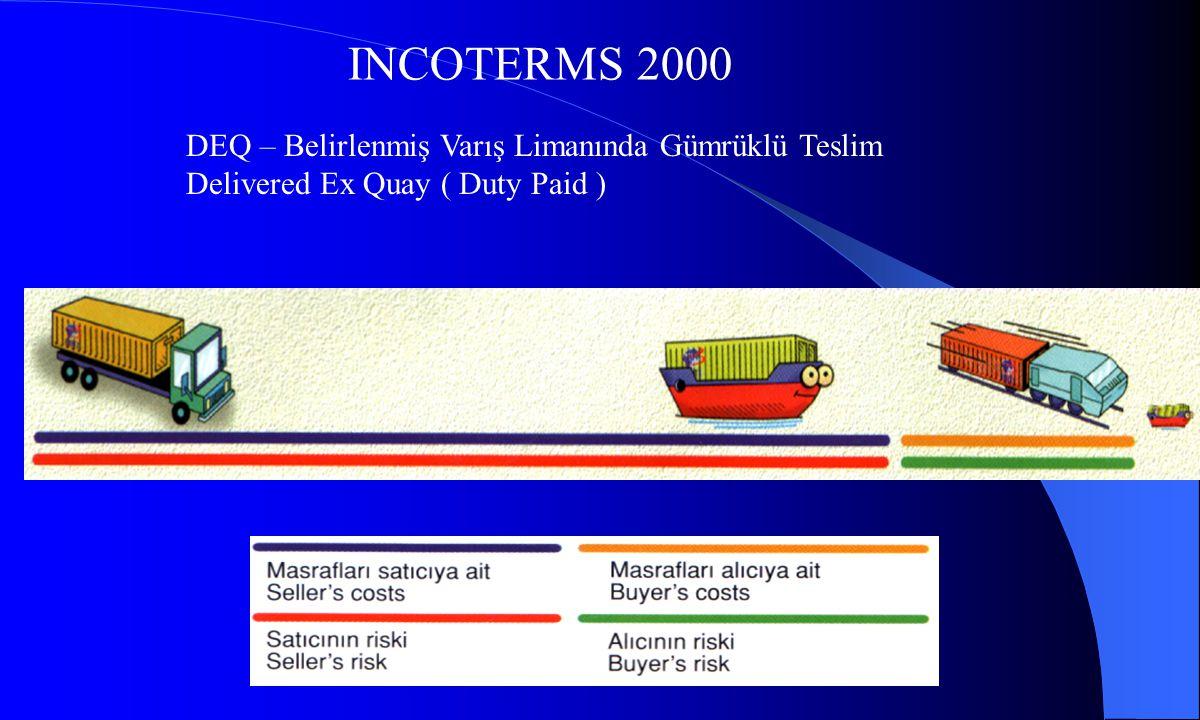 INCOTERMS 2000 DDU – Belirlenmiş Varış Yerinde Gümrüksüz Teslim, Delivered Duty Unpaid DDP – Belirlenmiş Varış Yerinde Gümrüklü Teslim, Delivered Duty Paid