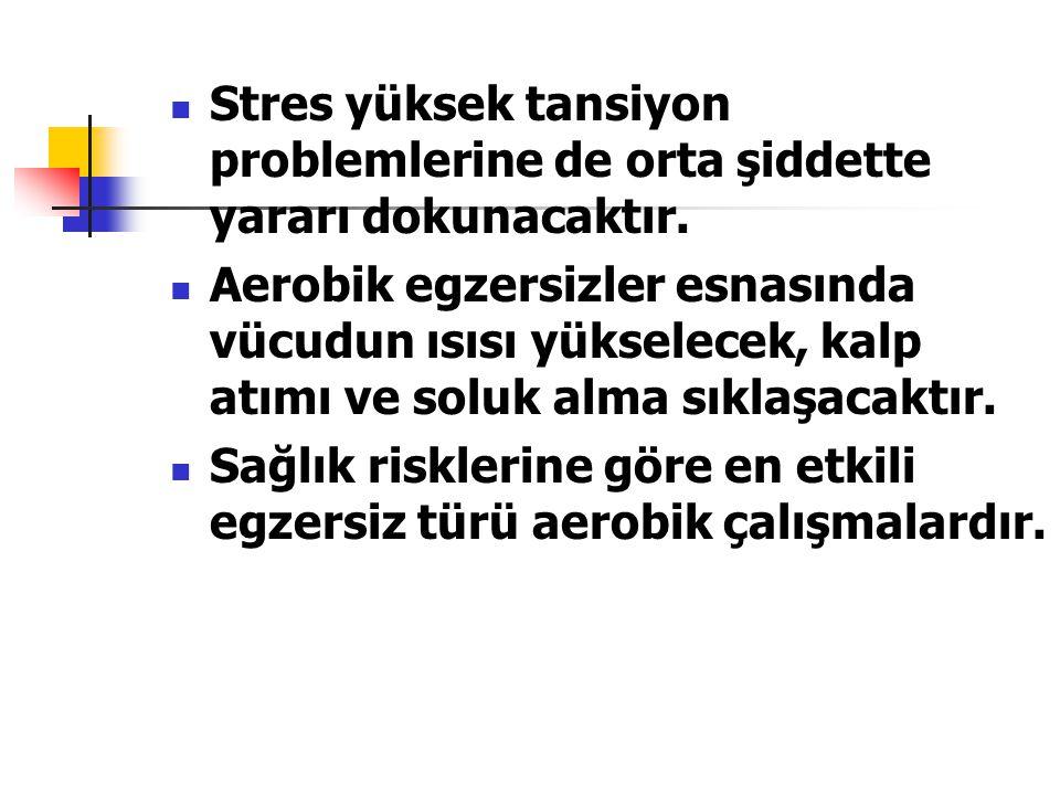 Stres yüksek tansiyon problemlerine de orta şiddette yararı dokunacaktır. Aerobik egzersizler esnasında vücudun ısısı yükselecek, kalp atımı ve soluk