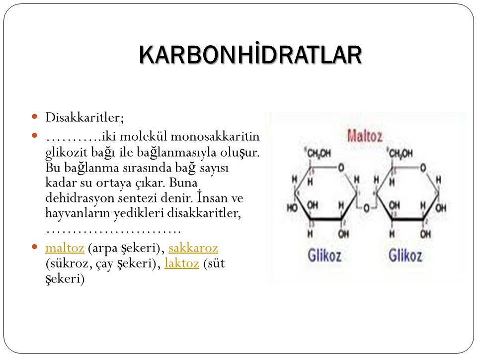 KARBONHİDRATLAR Disakkaritler; ………..iki molekül monosakkaritin glikozit ba ğ ı ile ba ğ lanmasıyla olu ş ur. Bu ba ğ lanma sırasında ba ğ sayısı kadar