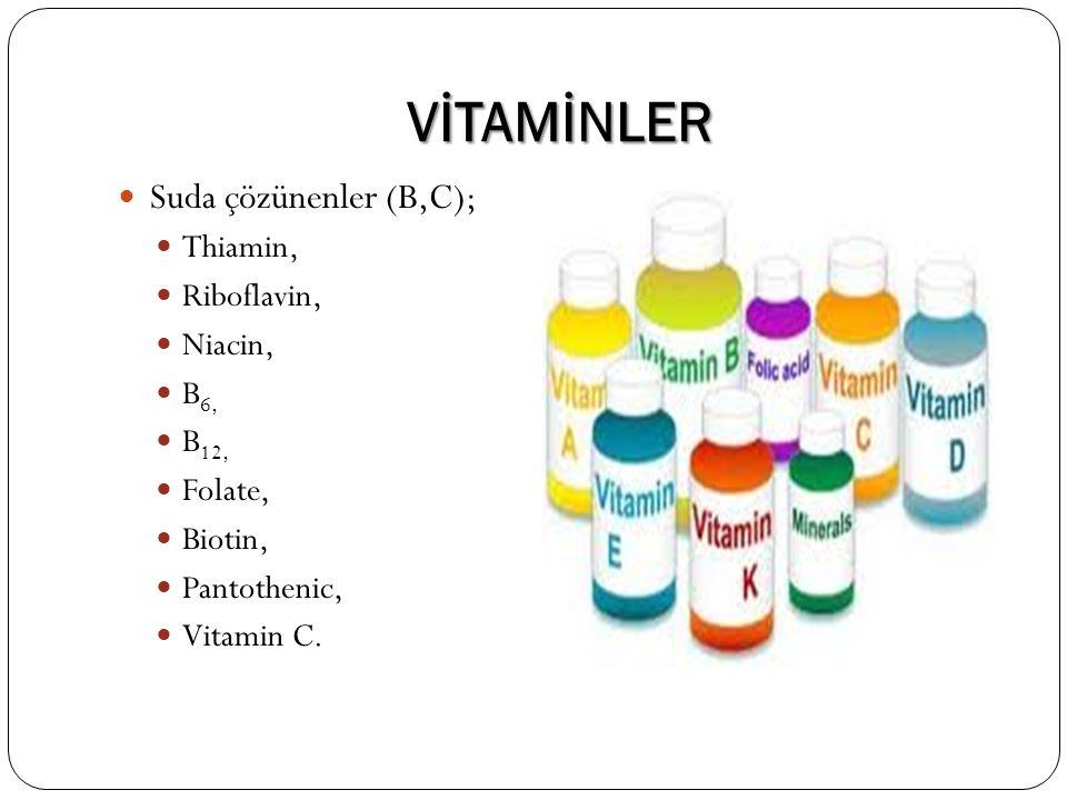 VİTAMİNLER Suda çözünenler (B,C); Thiamin, Riboflavin, Niacin, B 6, B 12, Folate, Biotin, Pantothenic, Vitamin C.