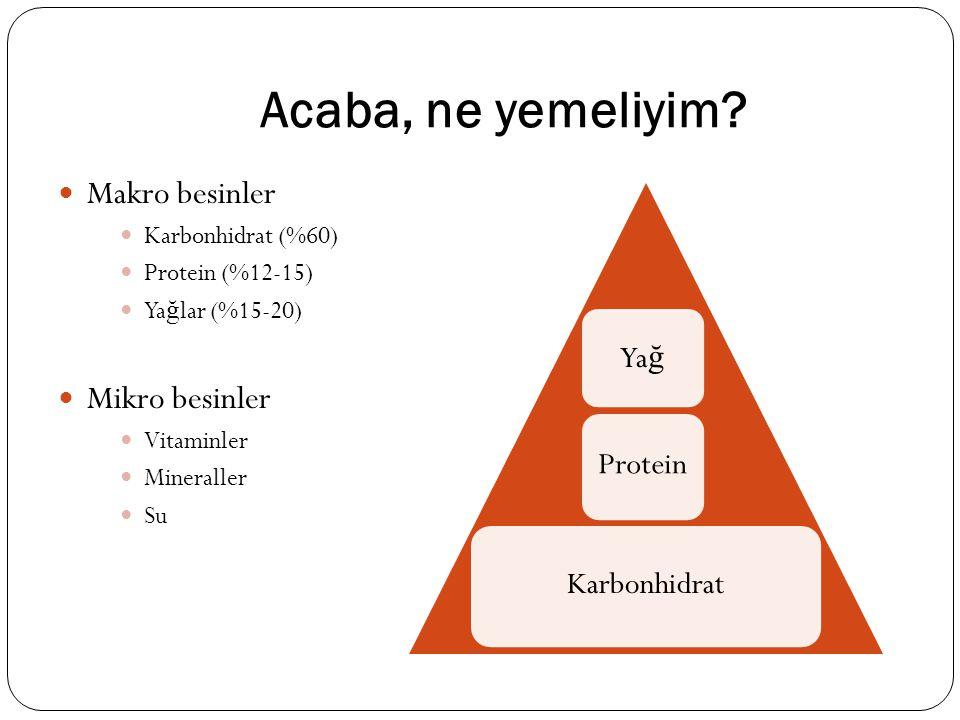 Acaba, ne yemeliyim? Makro besinler Karbonhidrat (%60) Protein (%12-15) Ya ğ lar (%15-20) Mikro besinler Vitaminler Mineraller Su Karbonhidrat Protein