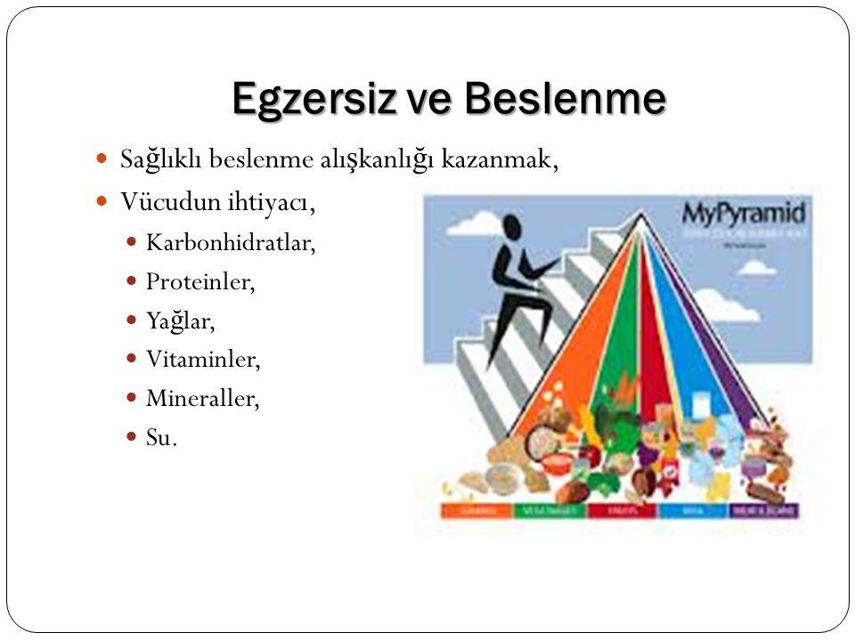 Egzersiz ve Beslenme Sa ğ lıklı beslenme alı ş kanlı ğ ı kazanmak, Vücudun ihtiyacı, Karbonhidratlar, Proteinler, Ya ğ lar, Vitaminler, Mineraller, Su