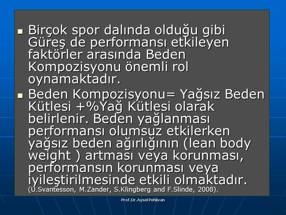 Prof.Dr.Aysel Pehlivan Birçok spor dalında olduğu gibi Güreş de performansı etkileyen faktörler arasında Beden Kompozisyonu önemli rol oynamaktadır.