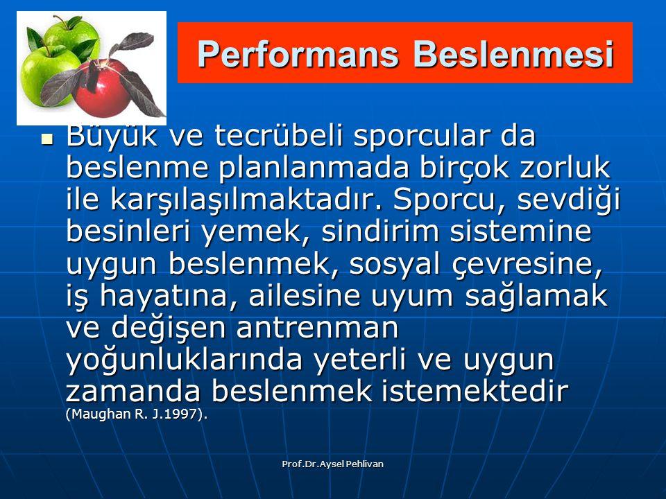 Prof.Dr.Aysel Pehlivan Büyük ve tecrübeli sporcular da beslenme planlanmada birçok zorluk ile karşılaşılmaktadır.