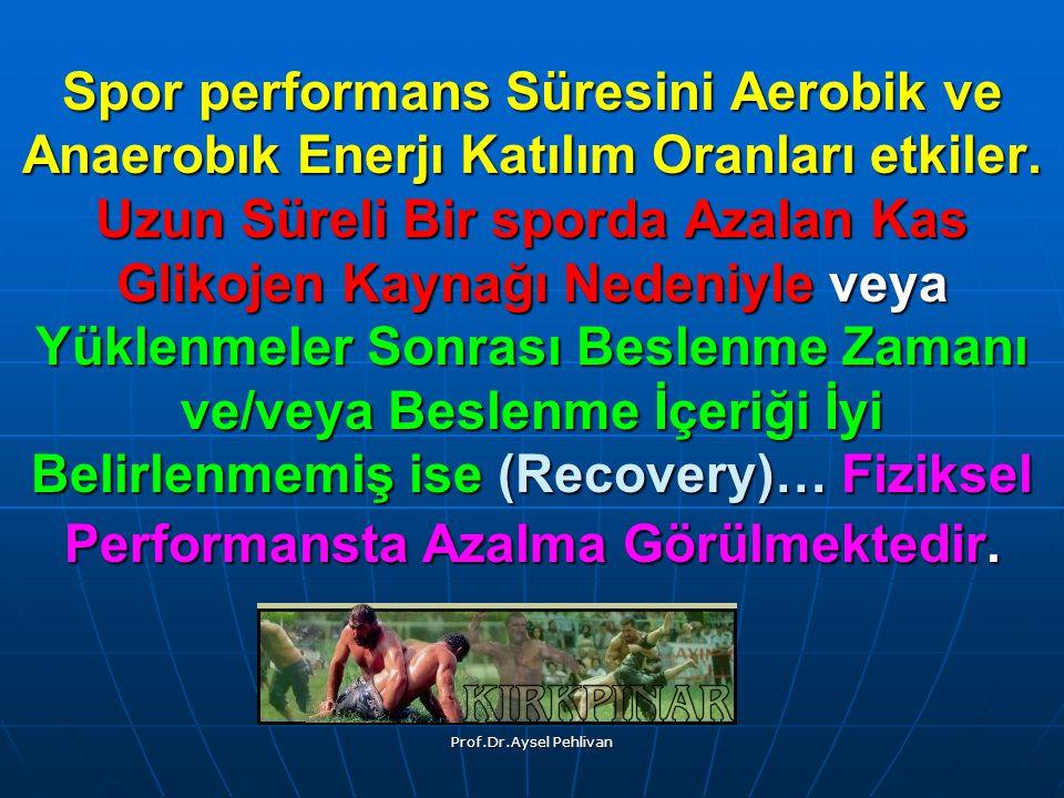 Prof.Dr.Aysel Pehlivan Spor performans Süresini Aerobik ve Anaerobık Enerjı Katılım Oranları etkiler.