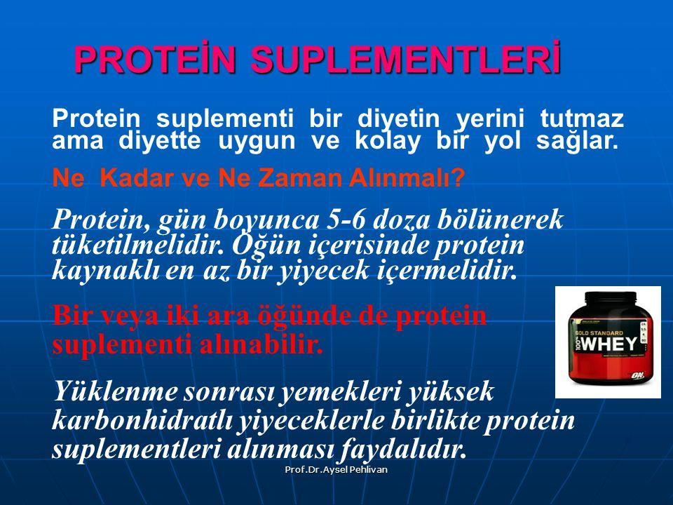 Prof.Dr.Aysel Pehlivan PROTEİN SUPLEMENTLERİ Protein suplementi bir diyetin yerini tutmaz ama diyette uygun ve kolay bir yol sağlar.