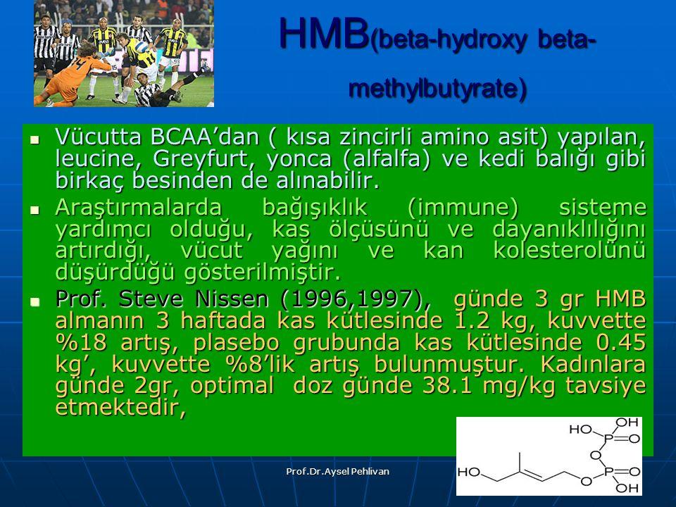 Prof.Dr.Aysel Pehlivan HMB (beta-hydroxy beta- methylbutyrate) Vücutta BCAA'dan ( kısa zincirli amino asit) yapılan, leucine, Greyfurt, yonca (alfalfa) ve kedi balığı gibi birkaç besinden de alınabilir.