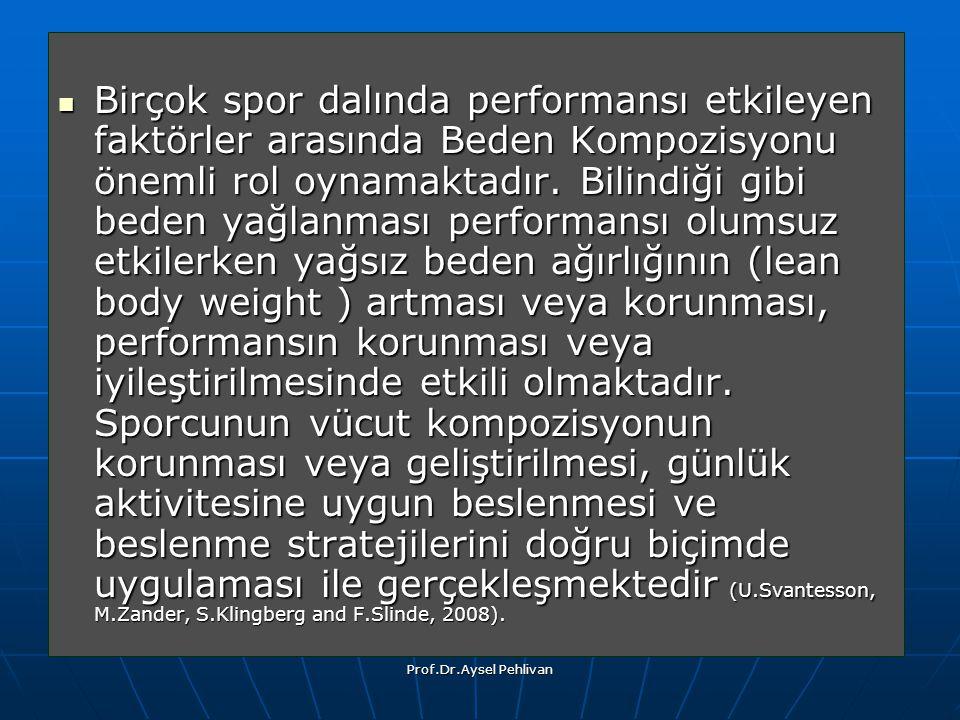 Prof.Dr.Aysel Pehlivan Birçok spor dalında performansı etkileyen faktörler arasında Beden Kompozisyonu önemli rol oynamaktadır.