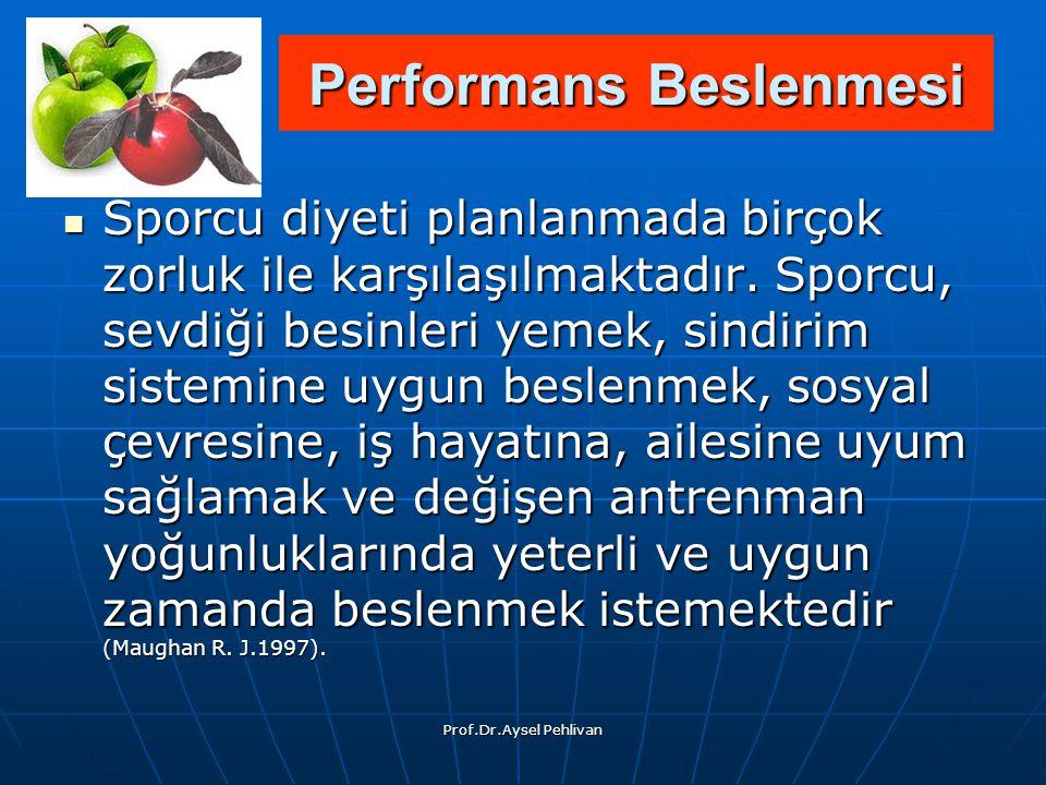 Prof.Dr.Aysel Pehlivan Sporcu diyeti planlanmada birçok zorluk ile karşılaşılmaktadır.