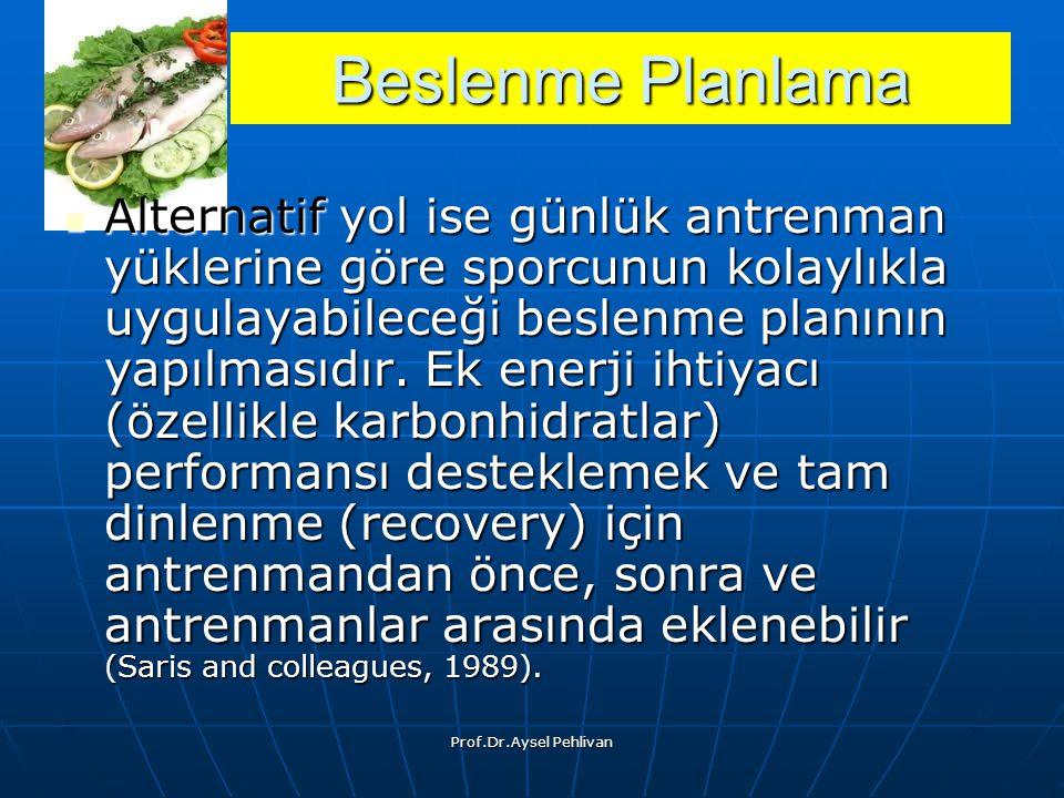Prof.Dr.Aysel Pehlivan Alternatif yol ise günlük antrenman yüklerine göre sporcunun kolaylıkla uygulayabileceği beslenme planının yapılmasıdır.
