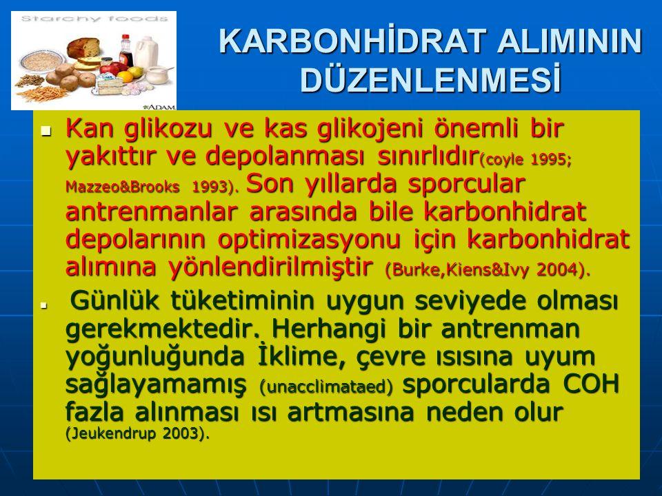 Prof.Dr.Aysel Pehlivan KARBONHİDRAT ALIMININ DÜZENLENMESİ Kan glikozu ve kas glikojeni önemli bir yakıttır ve depolanması sınırlıdır (coyle 1995; Mazzeo&Brooks 1993).