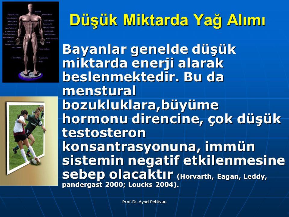 Prof.Dr.Aysel Pehlivan Düşük Miktarda Yağ Alımı Bayanlar genelde düşük miktarda enerji alarak beslenmektedir.