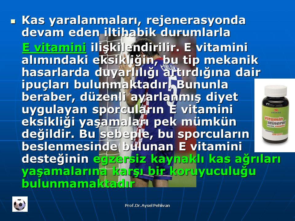 Prof.Dr.Aysel Pehlivan Kas yaralanmaları, rejenerasyonda devam eden iltihabik durumlarla Kas yaralanmaları, rejenerasyonda devam eden iltihabik durumlarla E vitamini ilişkilendirilir.