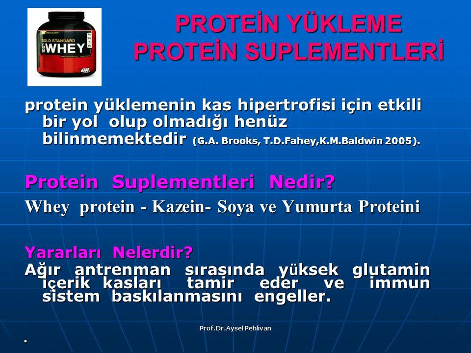 Prof.Dr.Aysel Pehlivan protein yüklemenin kas hipertrofisi için etkili bir yol olup olmadığı henüz bilinmemektedir (G.A.