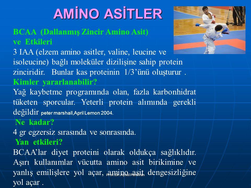 Prof.Dr.Aysel Pehlivan AMİNO ASİTLER BCAA (Dallanmış Zincir Amino Asit) ve Etkileri 3 IAA (elzem amino asitler, valine, leucine ve isoleucine) bağlı moleküler dizilişine sahip protein zinciridir.