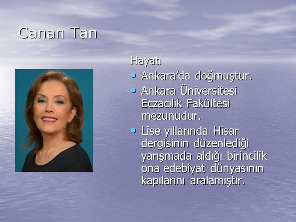 Canan Tan Hayatı Ankara'da doğmuştur. Ankara Üniversitesi Eczacılık Fakültesi mezunudur. Lise yıllarında Hisar dergisinin düzenlediği yarışmada aldığı