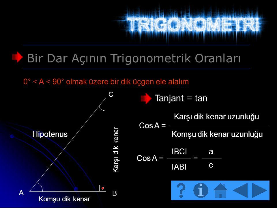 Bir Dar Açının Trigonometrik Oranları 0° < A < 90° olmak üzere bir dik üçgen ele alalım Hipotenüs Karşı dik kenar Komşu dik kenar A B C Tanjant = tan