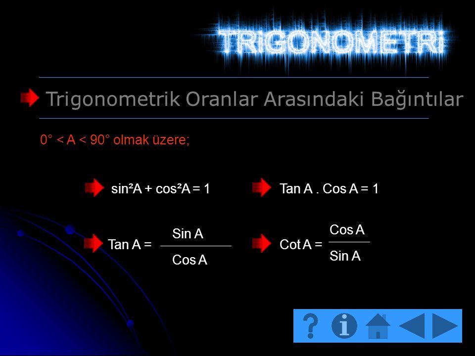 Trigonometrik Oranlar Arasındaki Bağıntılar 0° < A < 90° olmak üzere; sin²A + cos²A = 1Tan A. Cos A = 1 Tan A = Sin A Cos A Cot A = Cos A Sin A