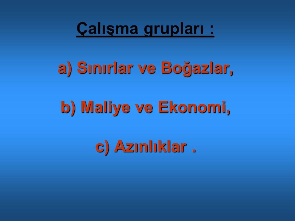 a) Sınırlar ve Boğazlar, b) Maliye ve Ekonomi, c) Azınlıklar. Çalışma grupları : a) Sınırlar ve Boğazlar, b) Maliye ve Ekonomi, c) Azınlıklar.
