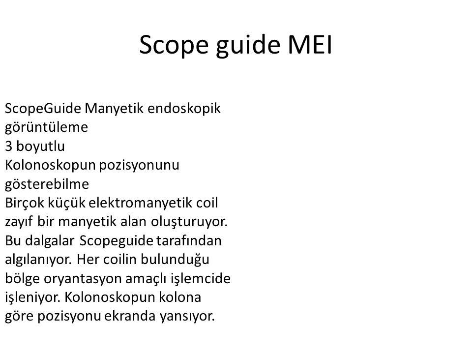 Scope guide MEI ScopeGuide Manyetik endoskopik görüntüleme 3 boyutlu Kolonoskopun pozisyonunu gösterebilme Birçok küçük elektromanyetik coil zayıf bir