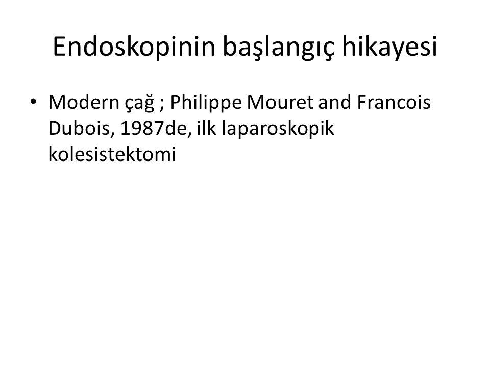 Endoskopinin başlangıç hikayesi Modern çağ ; Philippe Mouret and Francois Dubois, 1987de, ilk laparoskopik kolesistektomi
