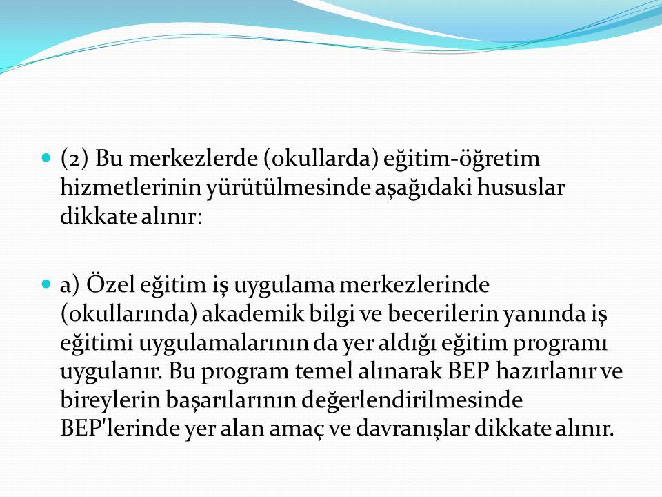(2) Bu merkezlerde (okullarda) eğitim-öğretim hizmetlerinin yürütülmesinde aşağıdaki hususlar dikkate alınır: a) Özel eğitim iş uygulama merkezlerinde