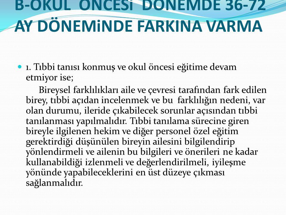 B-OKUL ÖNCESi DÖNEMDE 36-72 AY DÖNEMiNDE FARKINA VARMA 1. Tıbbi tanısı konmuş ve okul öncesi eğitime devam etmiyor ise; Bireysel farklılıkları aile ve