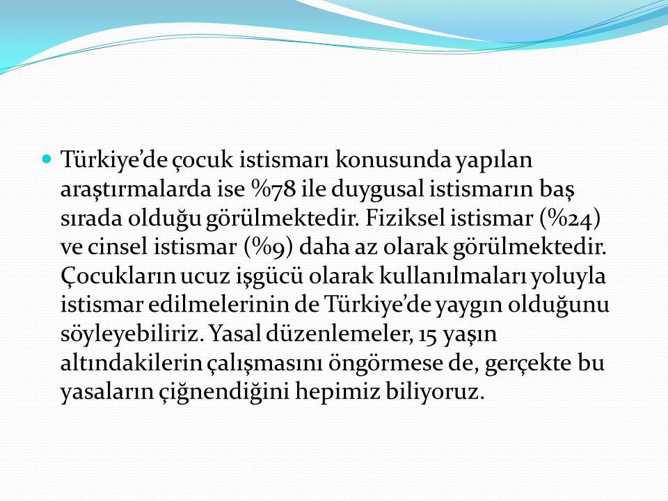 Türkiye'de çocuk istismarı konusunda yapılan araştırmalarda ise %78 ile duygusal istismarın baş sırada olduğu görülmektedir. Fiziksel istismar (%24) v