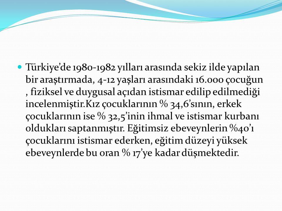 Türkiye'de 1980-1982 yılları arasında sekiz ilde yapılan bir araştırmada, 4-12 yaşları arasındaki 16.000 çocuğun, fiziksel ve duygusal açıdan istismar edilip edilmediği incelenmiştir.Kız çocuklarının % 34,6'sının, erkek çocuklarının ise % 32,5'inin ihmal ve istismar kurbanı oldukları saptanmıştır.