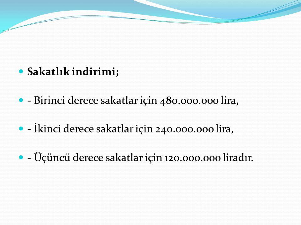 Sakatlık indirimi; - Birinci derece sakatlar için 480.000.000 lira, - İkinci derece sakatlar için 240.000.000 lira, - Üçüncü derece sakatlar için 120.000.000 liradır.