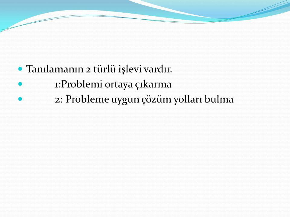 Tanılamanın 2 türlü işlevi vardır. 1:Problemi ortaya çıkarma 2: Probleme uygun çözüm yolları bulma