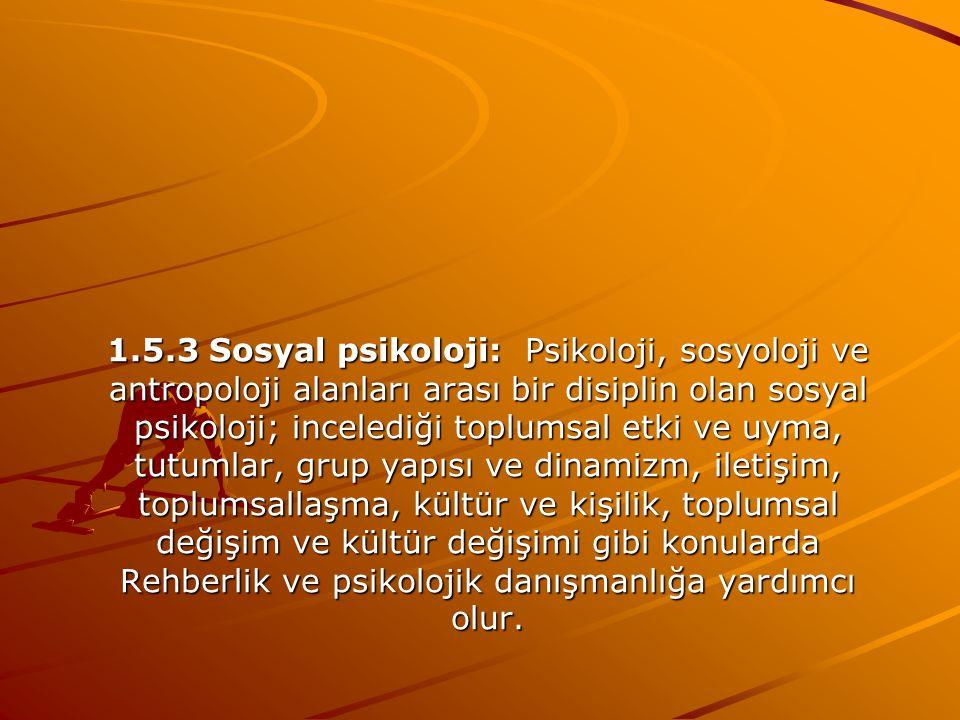 1.5.2 Sosyoloji: Davranış bilimi olarak, insanın toplumsal yaşamını açıklar. (Mertol,Arsoy ve Ergin;1998,ss.12-13) Rehberlik ve psikolojik danışmanlık