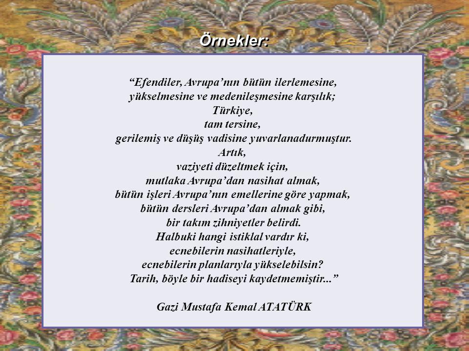 Örnekler: Efendiler, Avrupa'nın bütün ilerlemesine, yükselmesine ve medenileşmesine karşılık; Türkiye, tam tersine, gerilemiş ve düşüş vadisine yuvarlanadurmuştur.