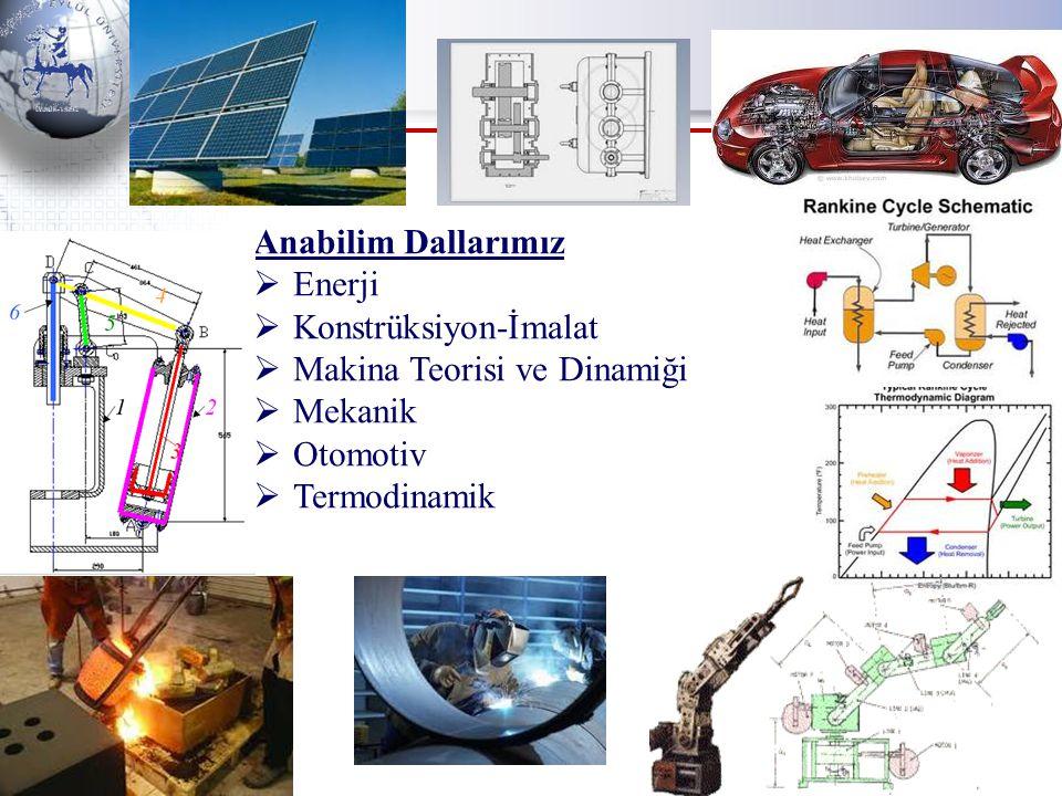 Anabilim Dallarımız  Enerji  Konstrüksiyon-İmalat  Makina Teorisi ve Dinamiği  Mekanik  Otomotiv  Termodinamik