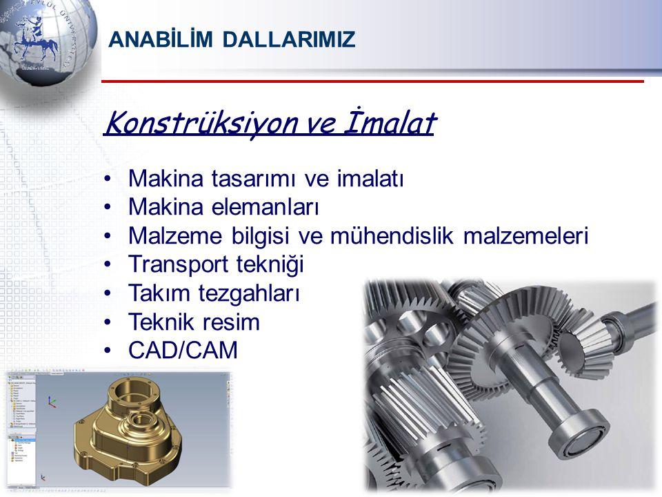 Konstrüksiyon ve İmalat Makina tasarımı ve imalatı Makina elemanları Malzeme bilgisi ve mühendislik malzemeleri Transport tekniği Takım tezgahları Teknik resim CAD/CAM ANABİLİM DALLARIMIZ