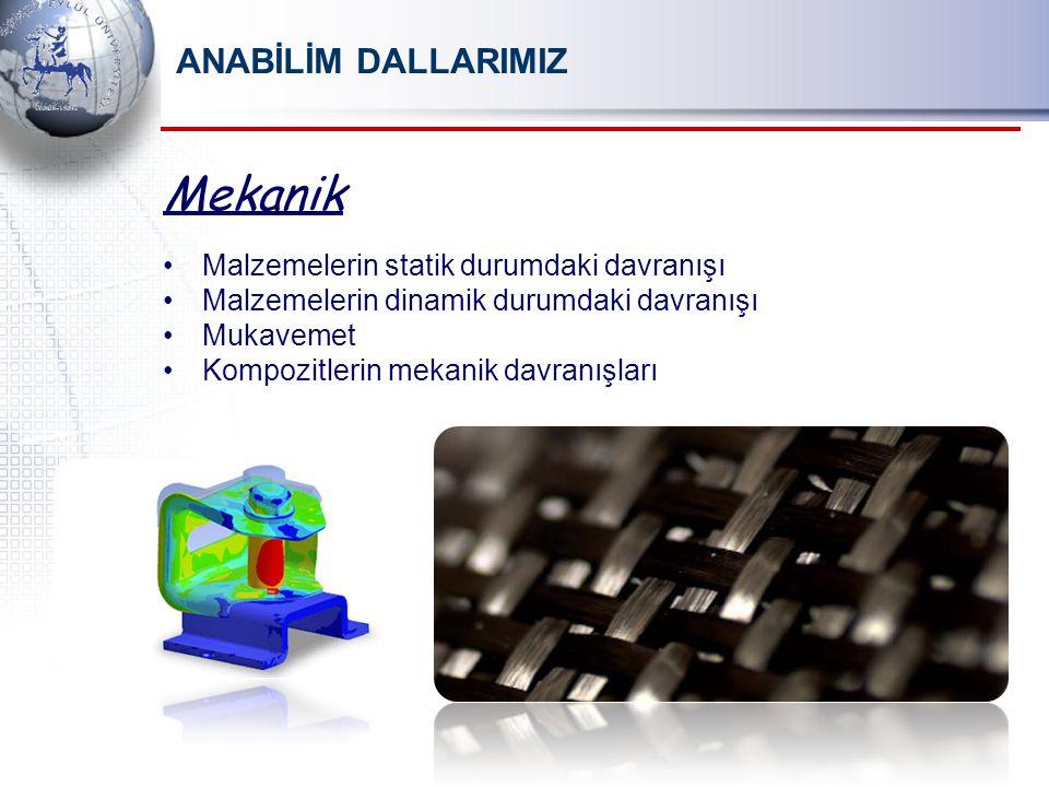 Mekanik Malzemelerin statik durumdaki davranışı Malzemelerin dinamik durumdaki davranışı Mukavemet Kompozitlerin mekanik davranışları