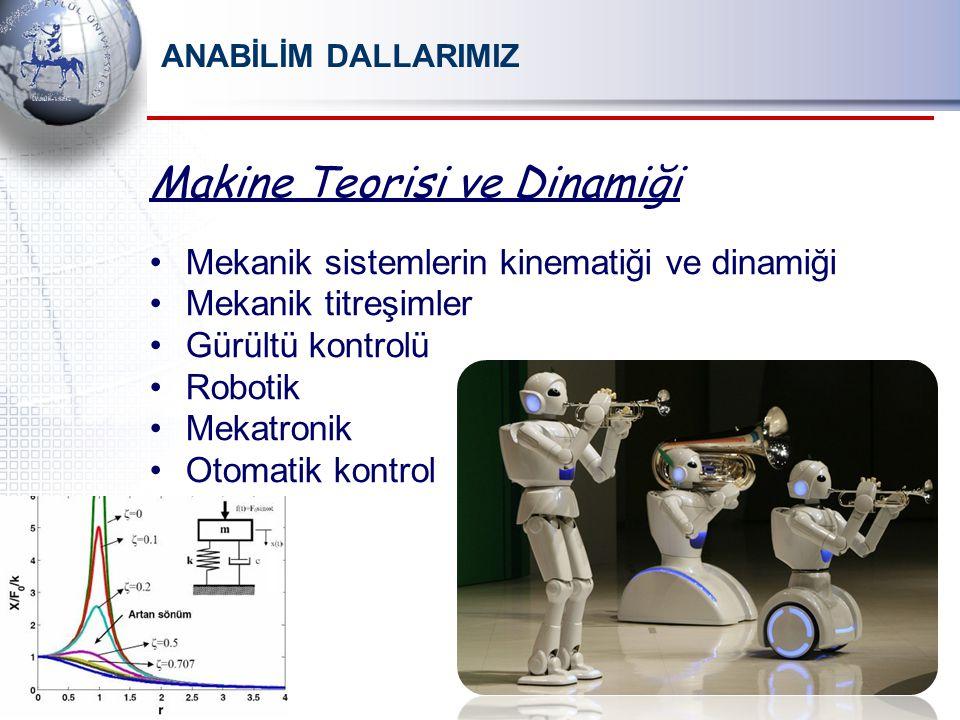 ANABİLİM DALLARIMIZ Makine Teorisi ve Dinamiği Mekanik sistemlerin kinematiği ve dinamiği Mekanik titreşimler Gürültü kontrolü Robotik Mekatronik Otomatik kontrol