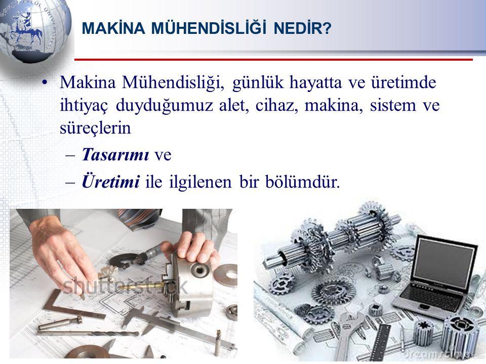 Makina Mühendisliği, günlük hayatta ve üretimde ihtiyaç duyduğumuz alet, cihaz, makina, sistem ve süreçlerin –Tasarımı ve –Üretimi ile ilgilenen bir bölümdür.