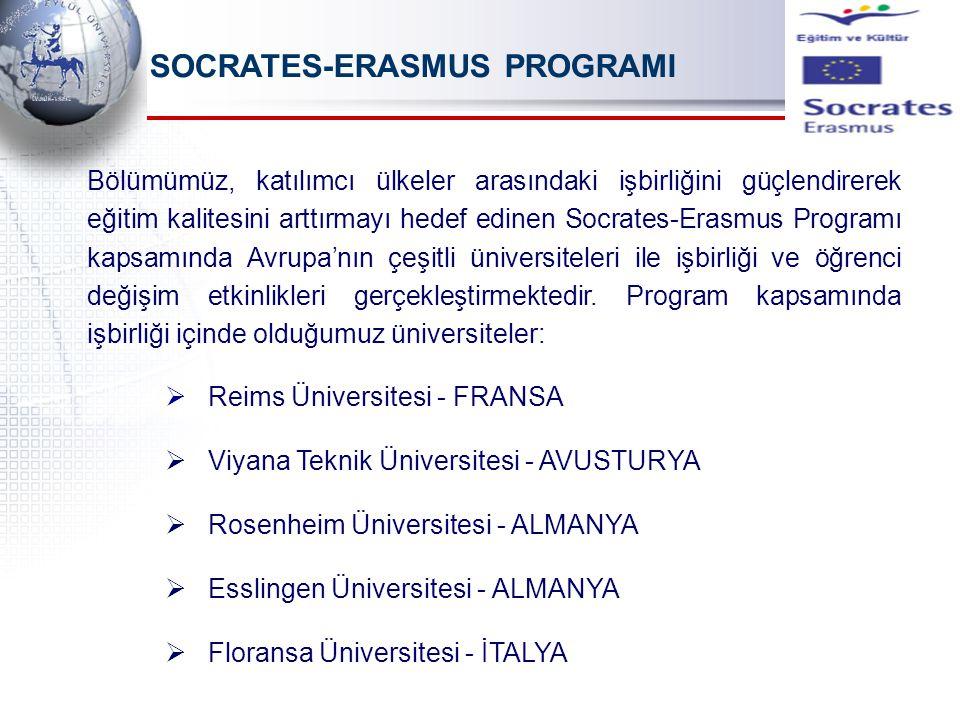 SOCRATES-ERASMUS PROGRAMI Bölümümüz, katılımcı ülkeler arasındaki işbirliğini güçlendirerek eğitim kalitesini arttırmayı hedef edinen Socrates-Erasmus Programı kapsamında Avrupa'nın çeşitli üniversiteleri ile işbirliği ve öğrenci değişim etkinlikleri gerçekleştirmektedir.